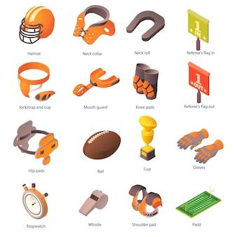 Amerikaans voetbal apparatuur pictogrammen instellen. isometrische reeks pictogrammen van amerikaanse voetbaluitrusting voor web op witte achtergrond