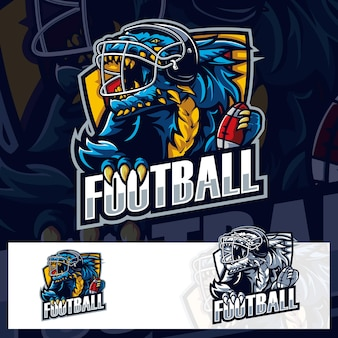 Amerikaans voetbal godzilla sport logo