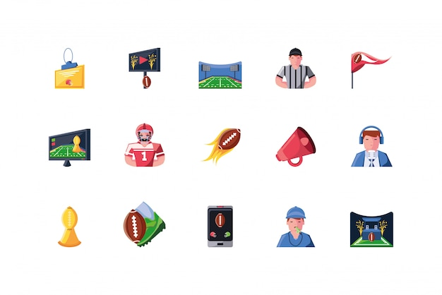 Amerikaans voetbal icon set