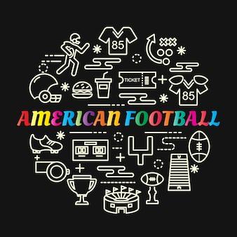 Amerikaans voetbal kleurrijke verloop met lijn pictogrammen instellen