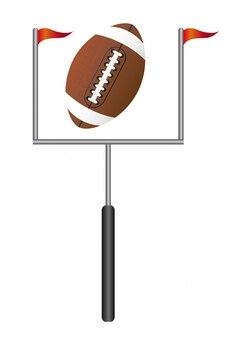 Amerikaans voetbal met doelpost geïsoleerde vectorillustratie