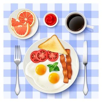 Amerikaans volledig ontbijt bovenaanzicht beeld