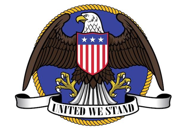 Amerikaanse adelaar die vlagschild en leeg lint draagt