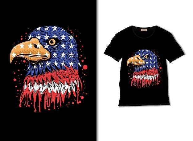 Amerikaanse adelaar illustratie met t-shirtontwerp