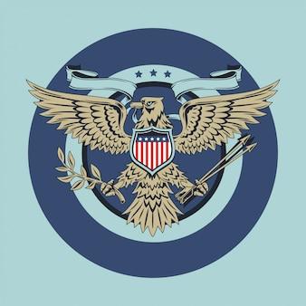 Amerikaanse adelaar met de vlaggen van de vs lint en schildwijnoogst