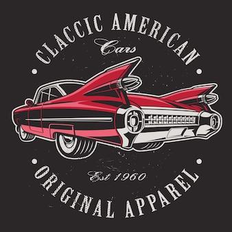 Amerikaanse auto op zwarte achtergrond. tekst staat op de aparte laag.