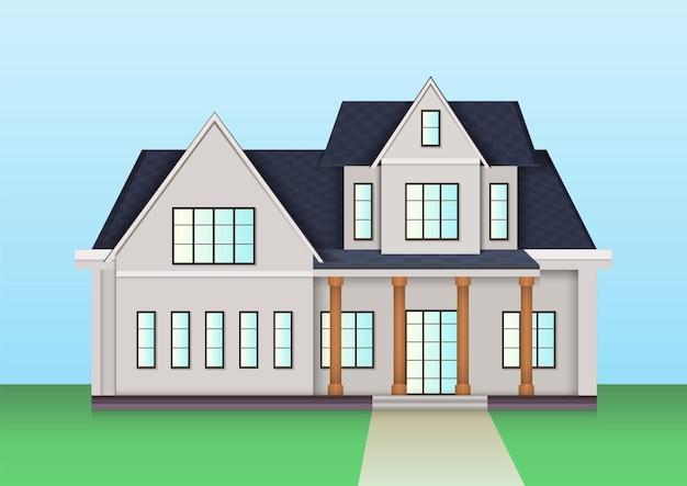 Amerikaanse boerderij huis icoon. vector illustratie