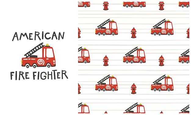 Amerikaanse brandweerman. brandweerwagen auto's naadloos patroon. illustratie in handgetekende stijl. papier