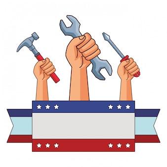 Amerikaanse dag van de arbeid cartoon