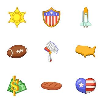 Amerikaanse dingen iconen set, cartoon stijl