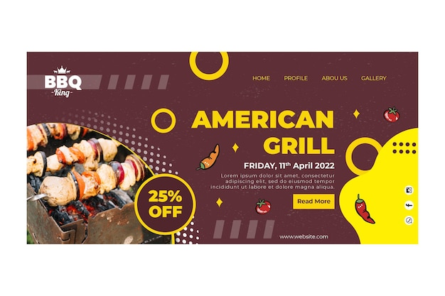 Amerikaanse grill-bestemmingspagina