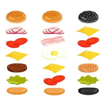 Amerikaanse hamburgeringrediënten voor ontwerp. vector