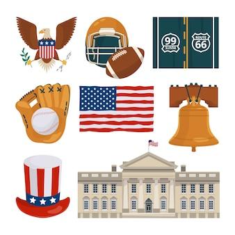 Amerikaanse herkenningspunten en andere verschillende culturele objecten