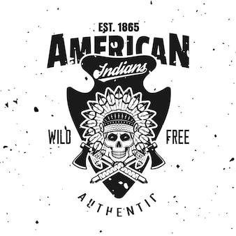 Amerikaanse indianen vector embleem, label, badge of logo in vintage zwart-wit stijl geïsoleerd op de achtergrond met verwisselbare grunge texturen