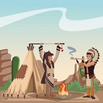 Amerikaanse indianenstam bij dorpsbeeldverhaal