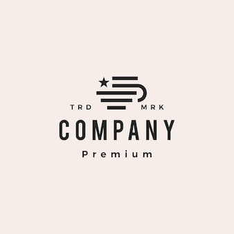 Amerikaanse koffie americano hipster vintage logo vector pictogram illustratie