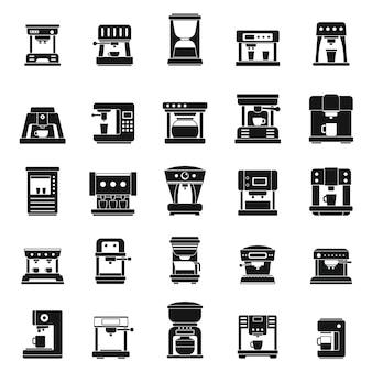 Amerikaanse koffie machine iconen set, eenvoudige stijl
