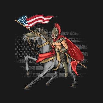 Amerikaanse krijger grunge illustratie