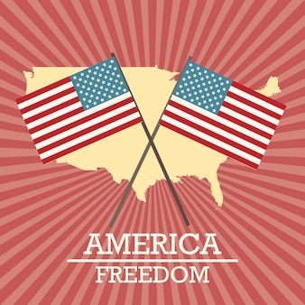 Amerikaanse label met kaart en vlaggen op vintage achtergrond