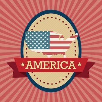 Amerikaanse label met kaart op vintage achtergrond