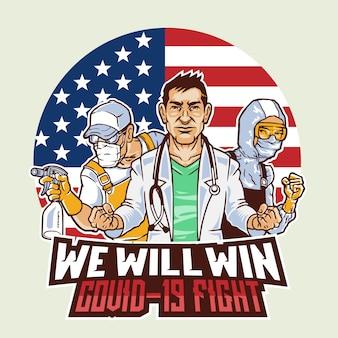 Amerikaanse medische artsen verenigen zich tegen covid 19 virusdraad illustratie