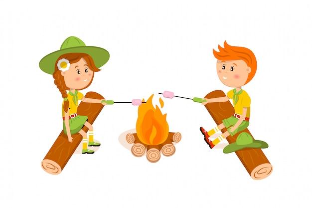 Amerikaanse meisje en jongen scouts gebakken marshmallows illustratie
