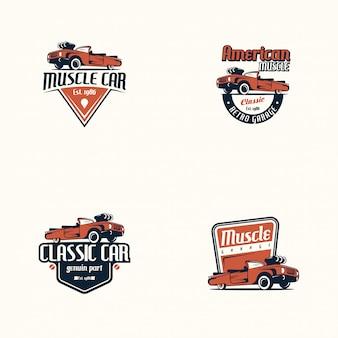 Amerikaanse muscle car logo set. retro klassieke auto