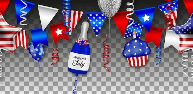Amerikaanse onafhankelijkheid naadloos met ballonnen, slingers en wimpels