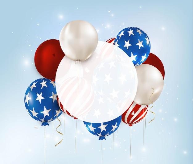 Amerikaanse onafhankelijkheidsdag banner. ballonnen met strepen, sterren. 4 juli. memorial day van de vs.