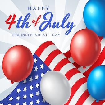 Amerikaanse onafhankelijkheidsdag banner, poster of wenskaart met nationale vlag en ballonnen op blauwe achtergrond, afbeelding