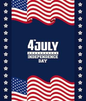 Amerikaanse onafhankelijkheidsdag kaart