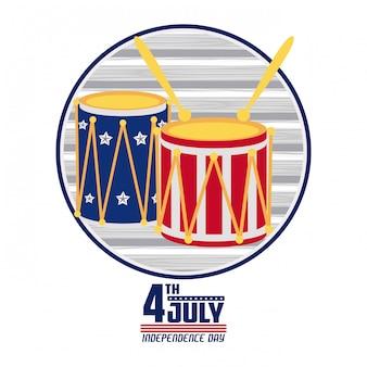 Amerikaanse onafhankelijkheidsdag kaart Premium Vector