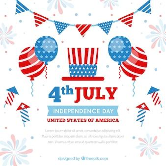Amerikaanse onafhankelijkheidsdag met ballonnen en vuurwerk