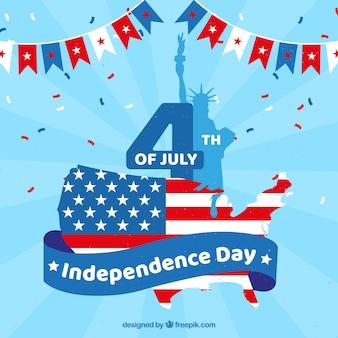 Amerikaanse onafhankelijkheidsdag met plat ontwerp