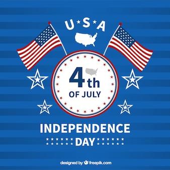 Amerikaanse onafhankelijkheidsdag met vlaggen en kenteken