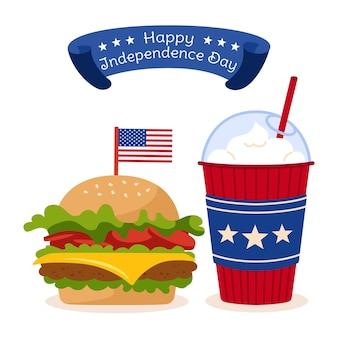 Amerikaanse onafhankelijkheidsdagkaart, fastfood met cheeseburger met vlaglint, kopje koffie om usa vlag te gaan
