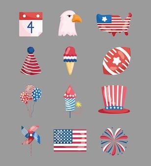 Amerikaanse pictogrammen van juli