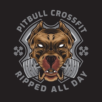 Amerikaanse pitbull met crossfit barbell badge-logo