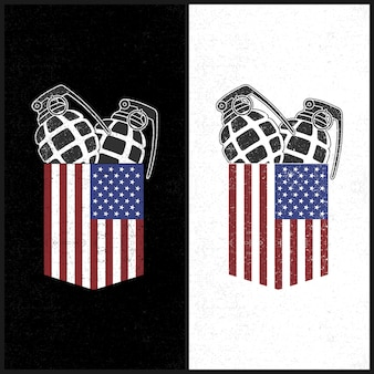 Amerikaanse pocket en granade illustratie