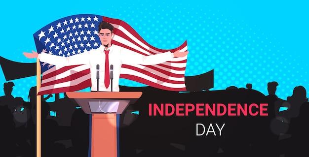 Amerikaanse politicus die spreekt tot mensen vanaf de tribune, 4 juli amerikaanse onafhankelijkheidsdag viering banner