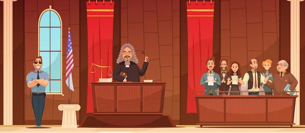 Amerikaanse rechtbank gerechtelijke gerechtelijke procedure in gerechtsgebouw met rechter en jury vak retro