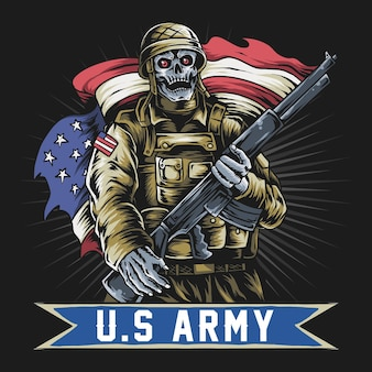 Amerikaanse soldaat met schedelgezicht met machinegeweer en vlag van de vs.