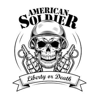 Amerikaanse soldaat schedel vectorillustratie. hoofd van skelet in tankmanhelm, twee granaten en vrijheid of doodstekst. militair of legerconcept voor emblemen of tattoo-sjablonen