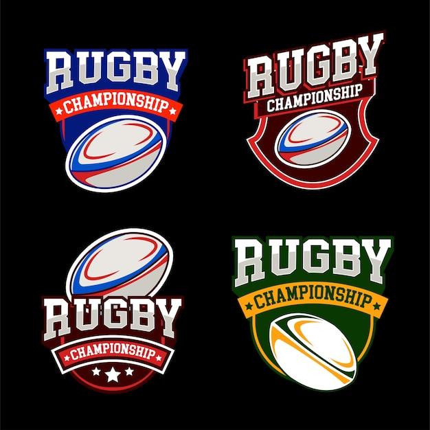 Amerikaanse sport rugby logo's instellen