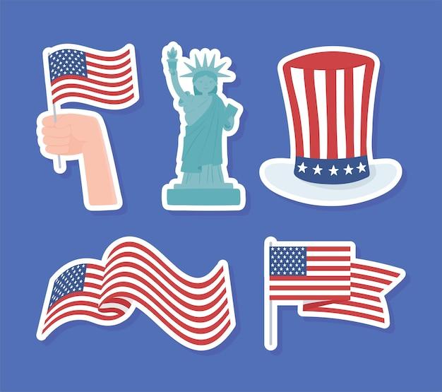 Amerikaanse stickers set