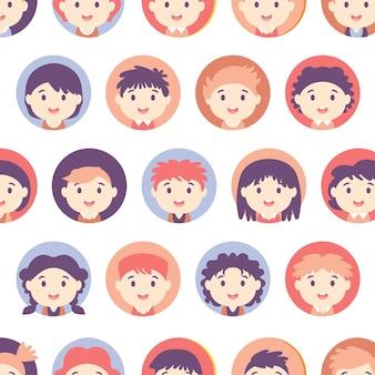 Amerikaanse tieners en kinderen verschillende avatar. achtergrond met schooljongens en schoolmeisjes. kinderen naadloos patroon