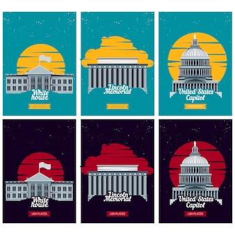 Amerikaanse toeristische bestemming posters