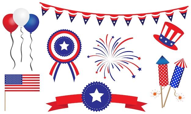 Amerikaanse verenigde staten 4 juli badges banner
