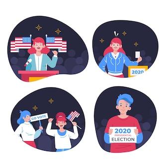 Amerikaanse verkiezingscampagne scènes collectie
