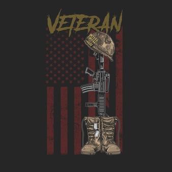 Amerikaanse veteraan boot en gun grunge stijl t-stukken grafisch